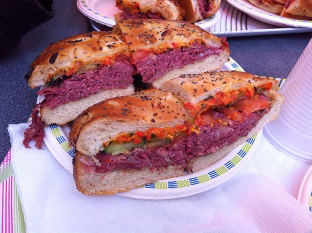 Pastrami sandwiches in Jewish Quarter Paris